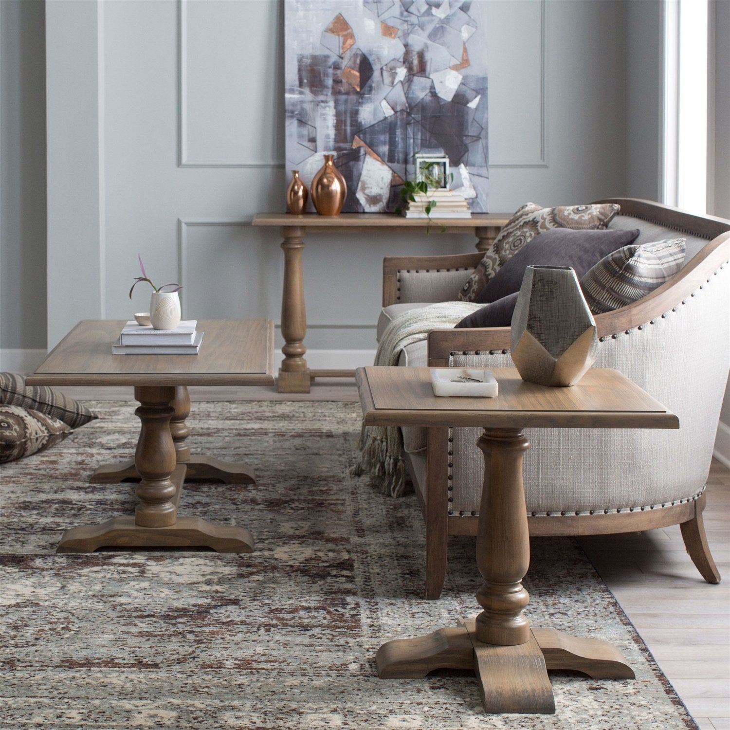 Driftwood Contemporary Classic End Table with Pedestal Legs