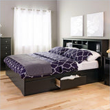 King size Bookcase Headboard in Black Wood Finish