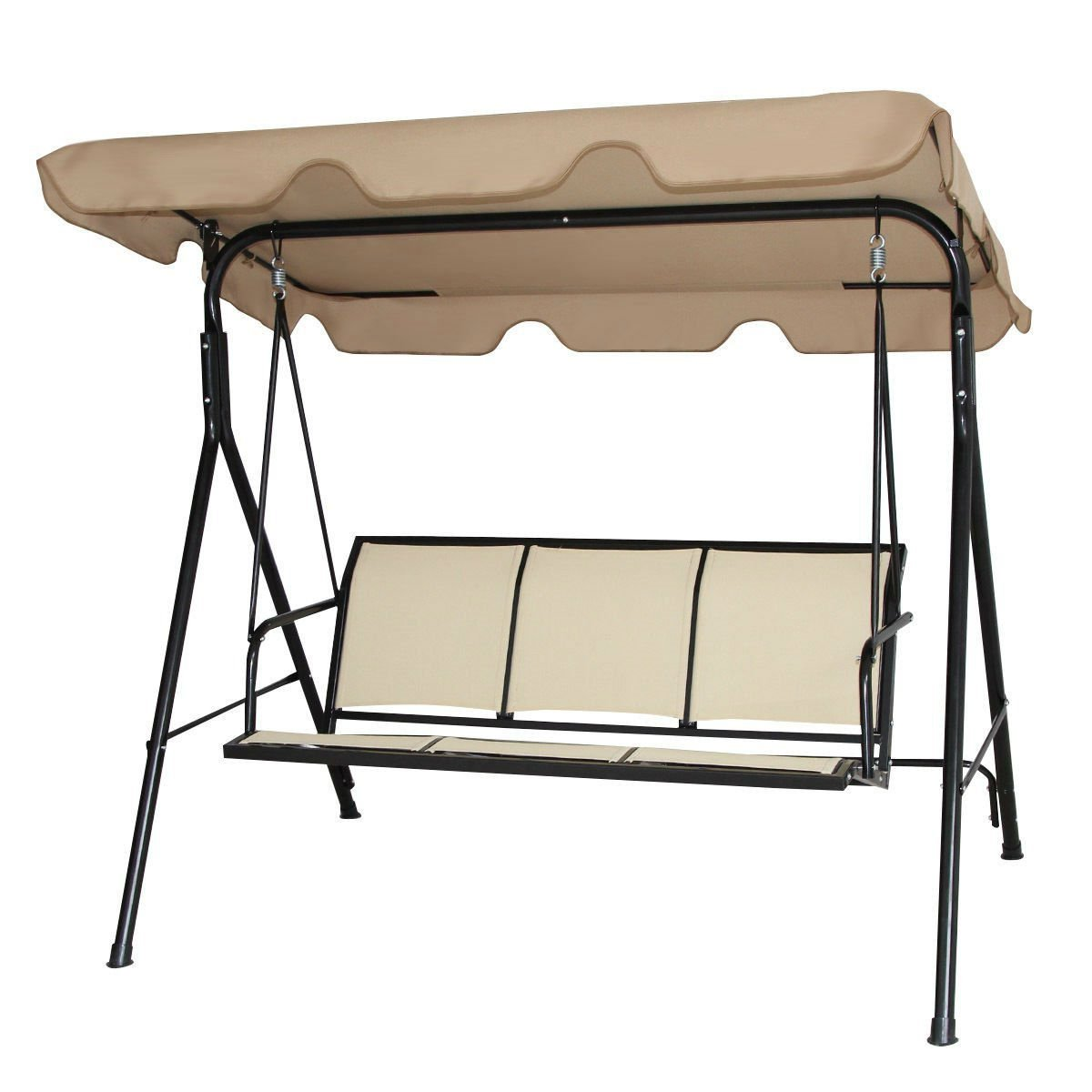 Outdoor Porch Patio 3-Person Canopy Swing in Light Brown