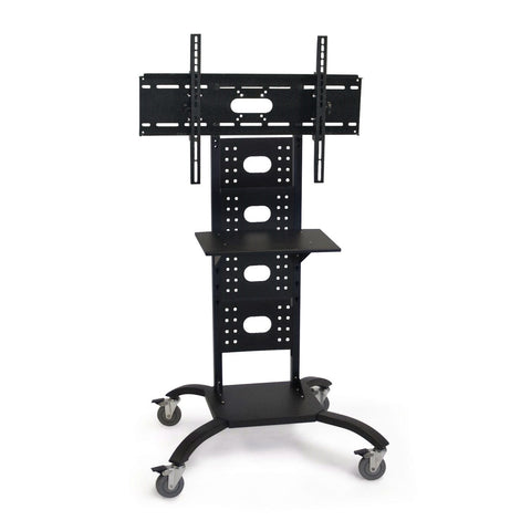 Mobile Flat Screen TV Stand Cart with Shelf and Universal Mounting Bracket