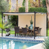 10-ft x 12-ft Dark Brown Steel Pergola Outdoor Gazebo w/ Retractable Ivory Shade