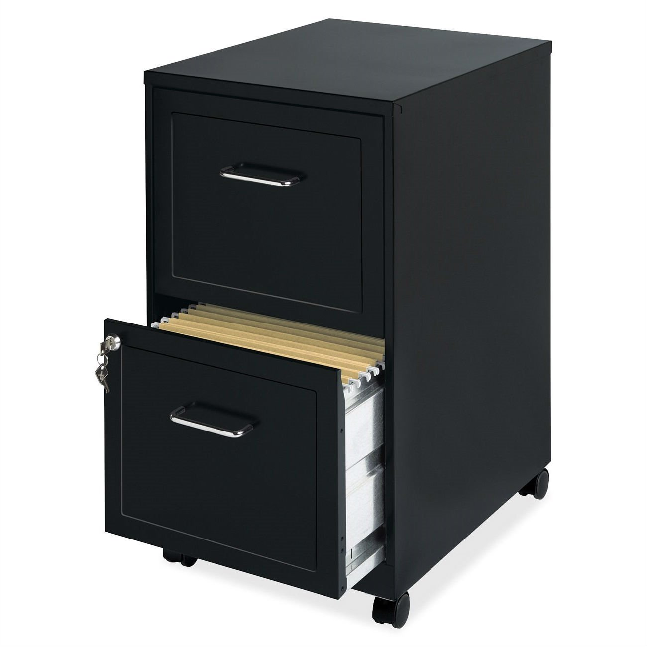 Black Metal 2-Drawer Filing Cabinet with Rolling Casters / Wheels