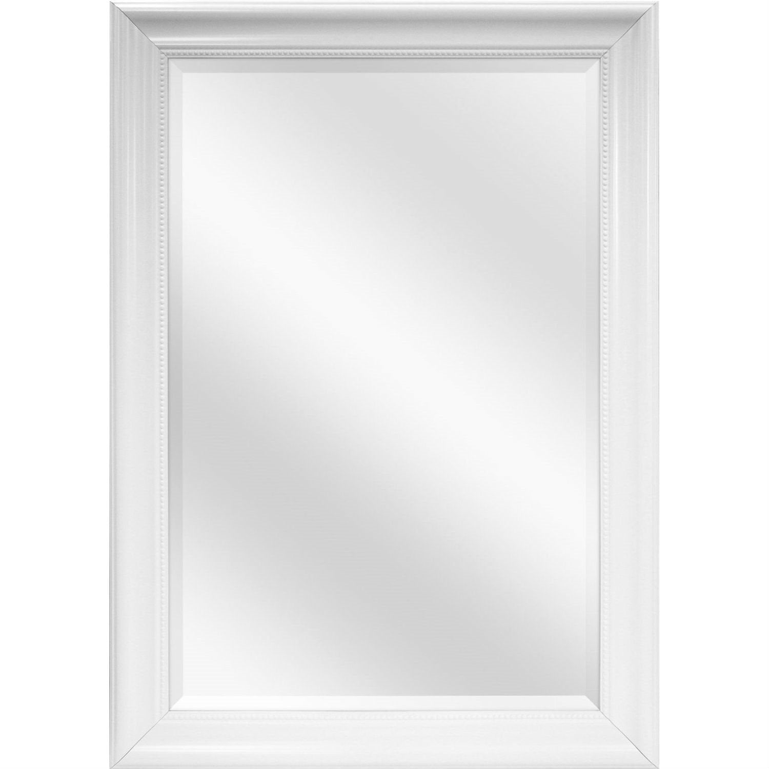Large Rectangular Bathroom Wall Hanging Mirror with White Frame - 42 x 30 inch