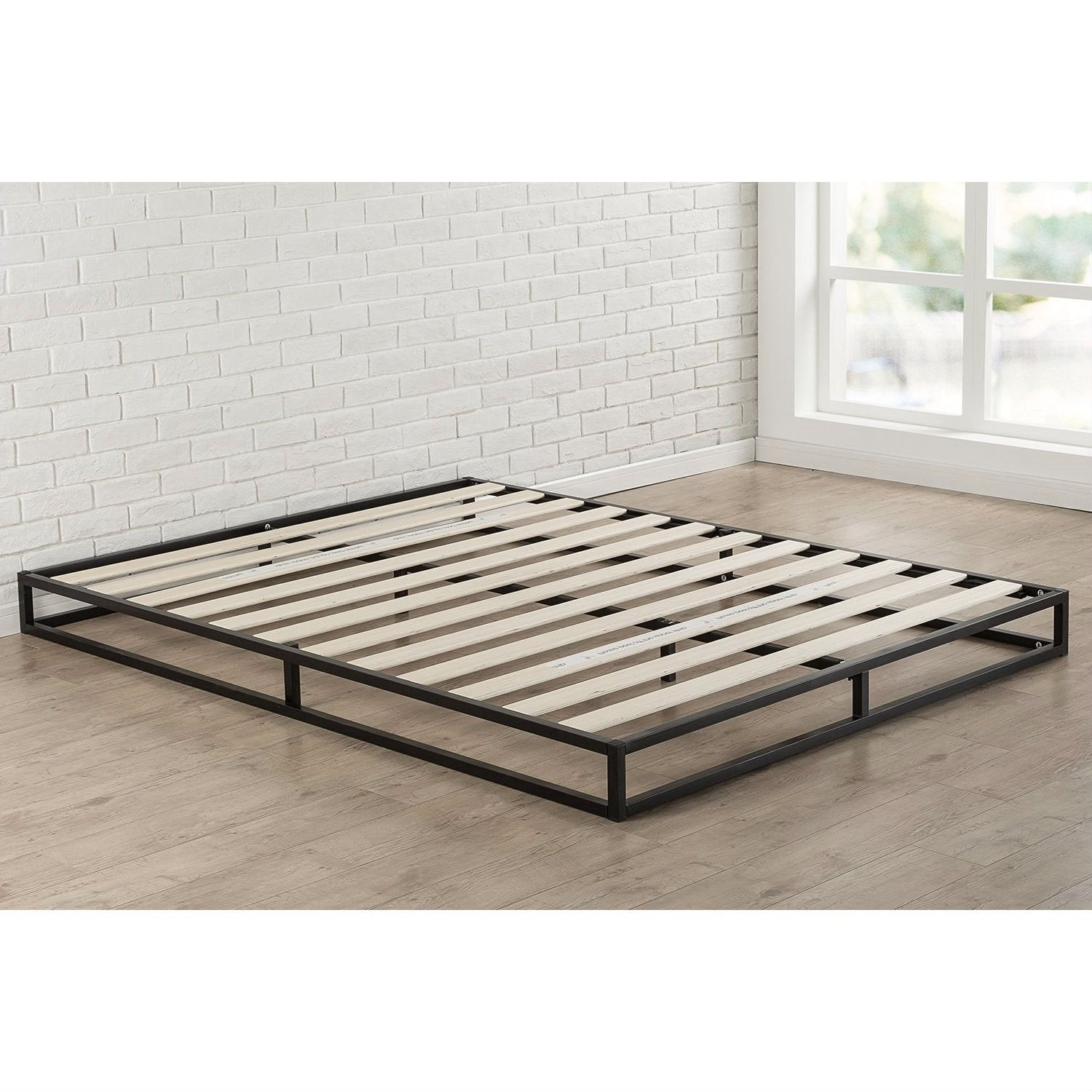 King size 6-inch Low Profile Metal Platform Bed Frame w/ Wood Slat