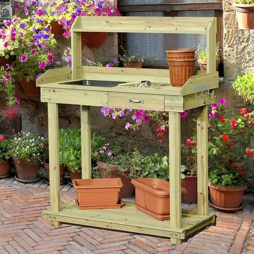Excellent Natural Wood Potting Bench Table With Sink And Outdoor Storage Spac Creativecarmelina Interior Chair Design Creativecarmelinacom