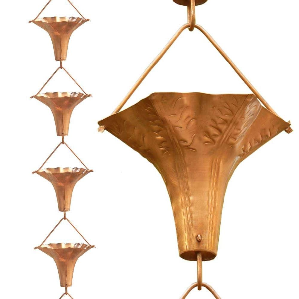Floral Wide Mouth Copper Rain Chain with Easy Install Copper Hook
