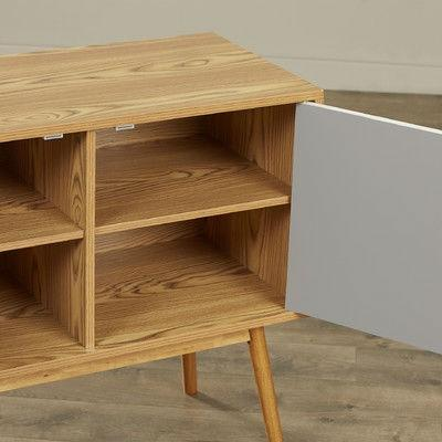 Mid-Century Modern Console Table Storage Cabinet with Solid Wood Legs