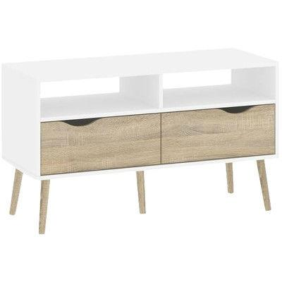 Modern Mid-Century Style Console Table in White / Oak Wood Finish