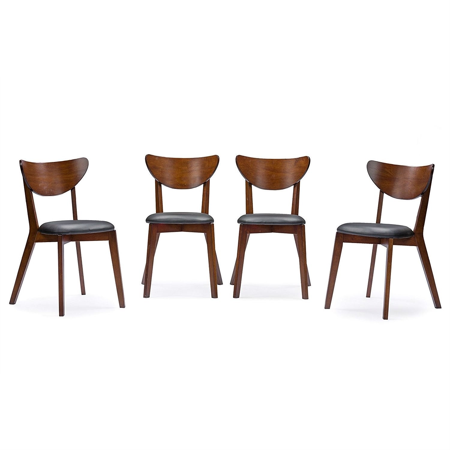 Modern Mid-Century Style 5-Piece Dining Set in Dark Brown Walnut Finish