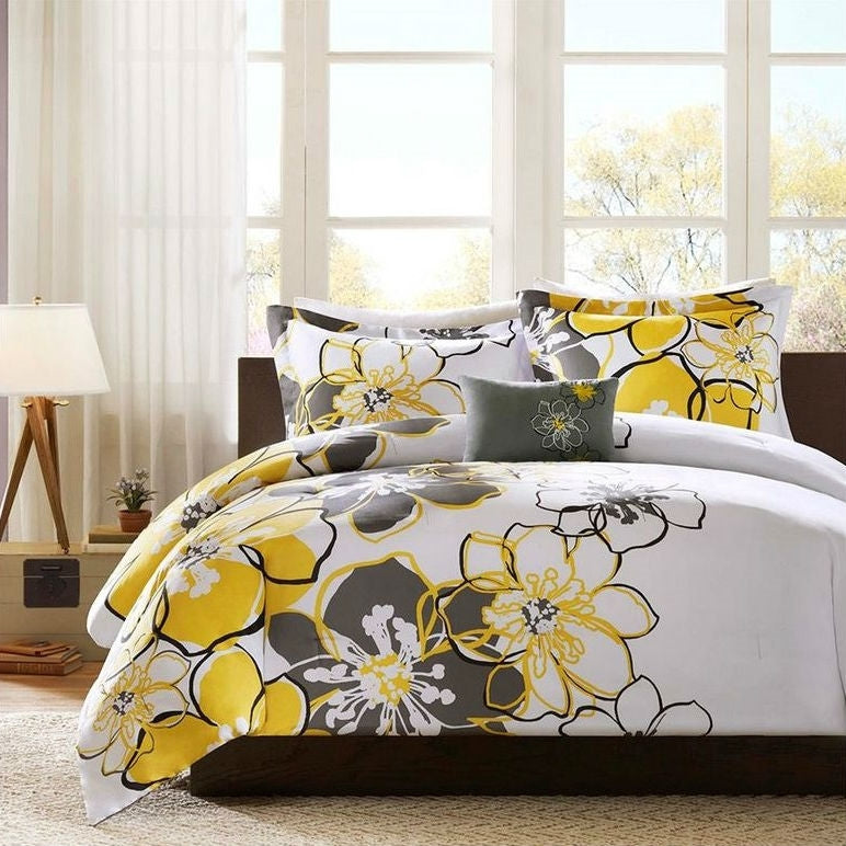 Queen size 4-Piece Comforter Set with Yellow Grey Floral Pattern