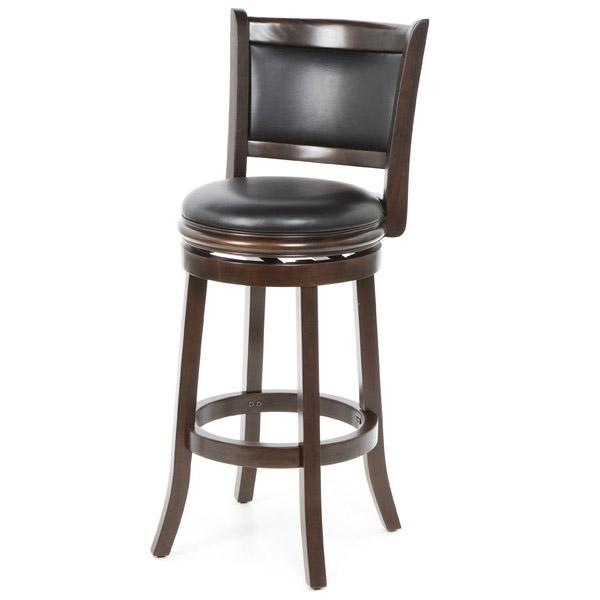 Cappuccino 29-inch Swivel Barstool with Faux Leather Cushion Seat
