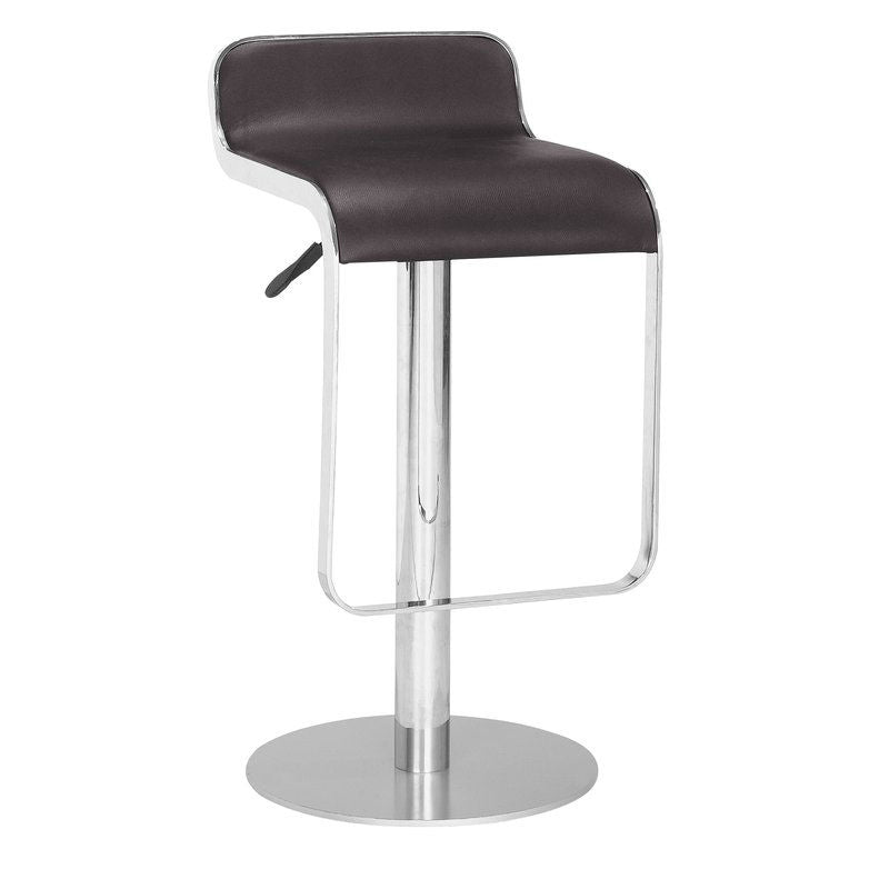 Modern Bar Stool with Espresso Brown Faux Leather Swivel Seat