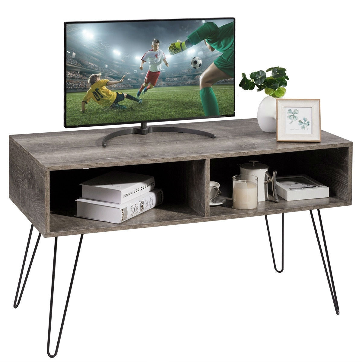 Modern TV Stand in Oak Wood Finish with Metal Legs - Fits up to 42-inch TV