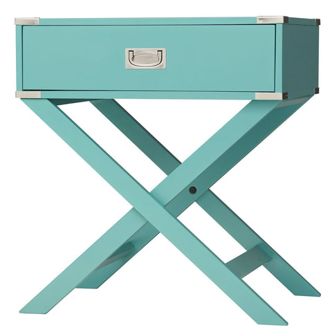 Marine Green Turquoise 1-Drawer Modern End Table Nightstand