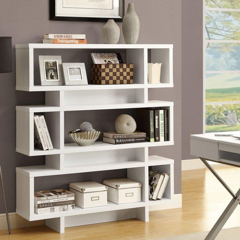 White Modern Bookcase Bookshelf for Living Room Office or Bedroom