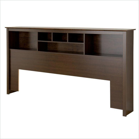 King size Bookcase Headboard in Espresso Wood Finish