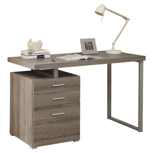 Modern Home Office Laptop Computer Desk in Dark Taupe Wood Finish