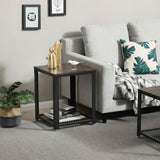 Modern Industrial Metal Wood Nightstand Side Table with Mesh Shelf