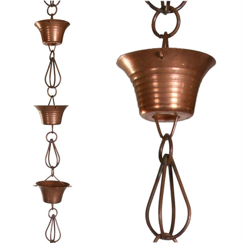 Pure Copper 8.5-Ft Rain Chain with 10 Round Cups and Teardrop Chain-Links