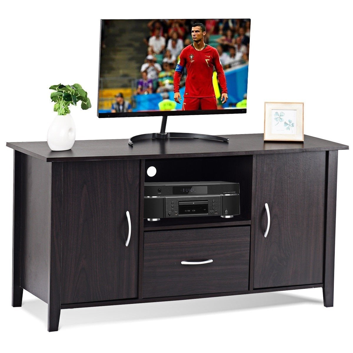 Modern 48-inch Dark Brown Wood TV Stand Media Cabinet