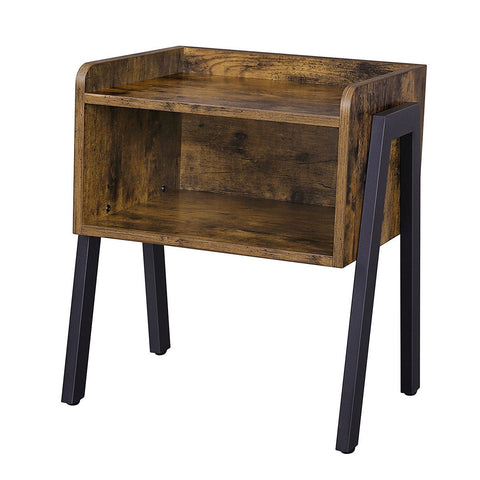 Modern Stacking Open Shelf Nightstand End Table in Medium Brown Wood Finish