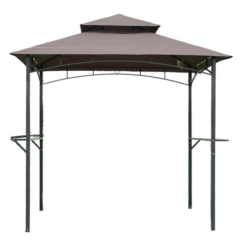 8-Ft x 5-Ft Steel Frame Outdoor Grill Gazebo with Vent Top Canopy