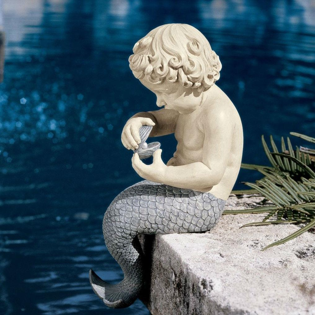 Young Little Sitting Mermaid Garden Statue with Oyster and Pearl