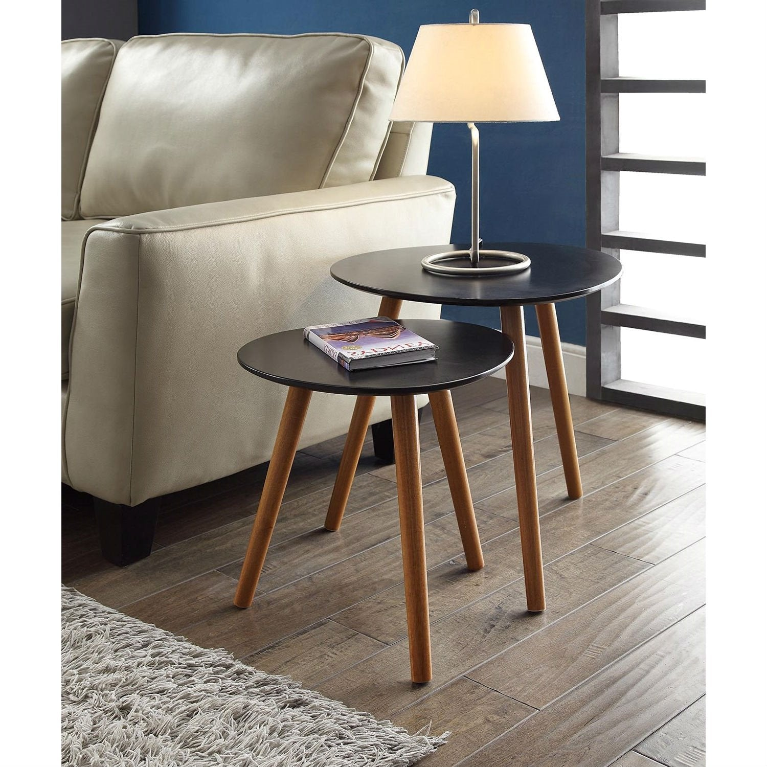 Set of 2 - Modern Mid-Century Style Nesting Tables End Table in Black
