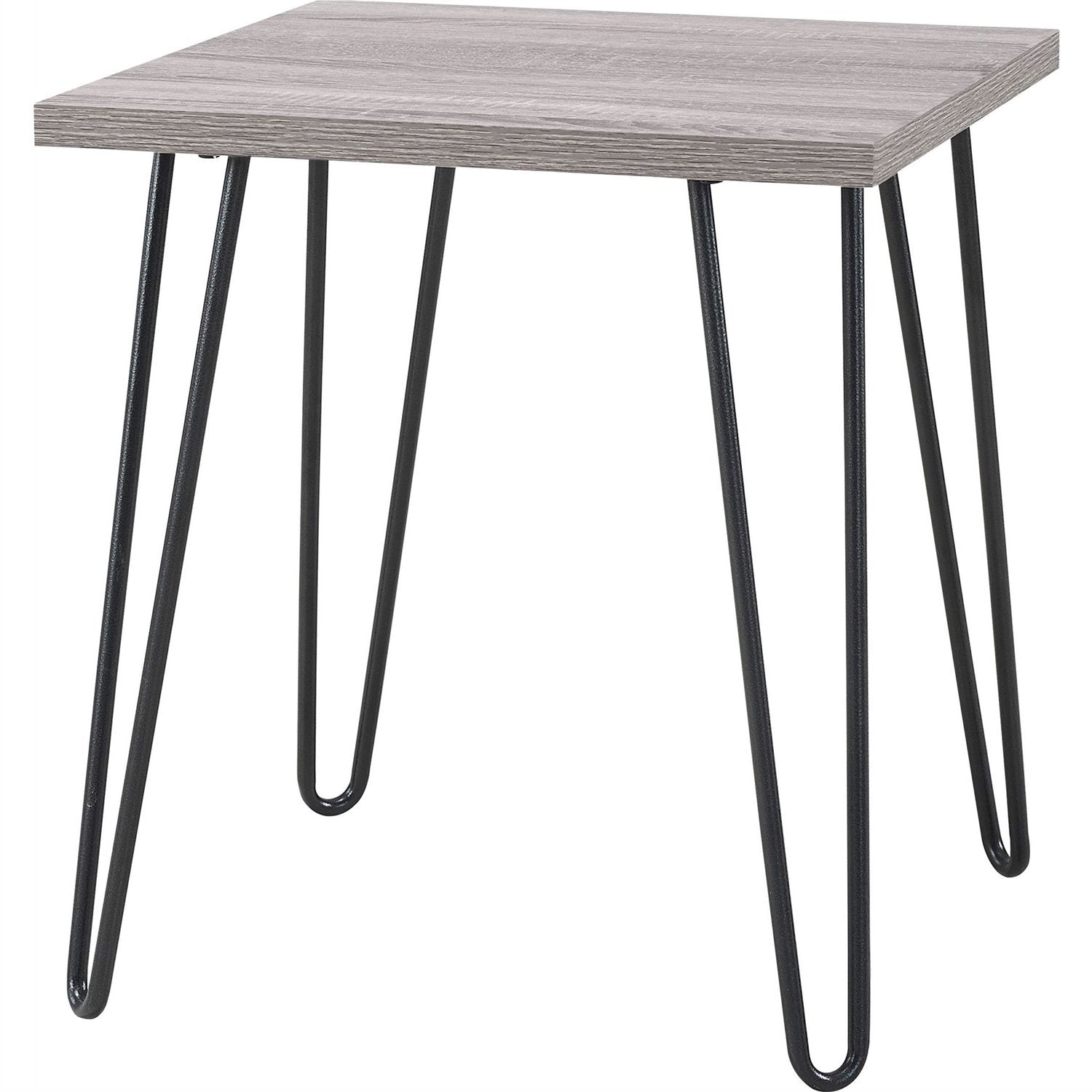 Modern Classic Vintage Style End Table with Wood Top and Metal Legs