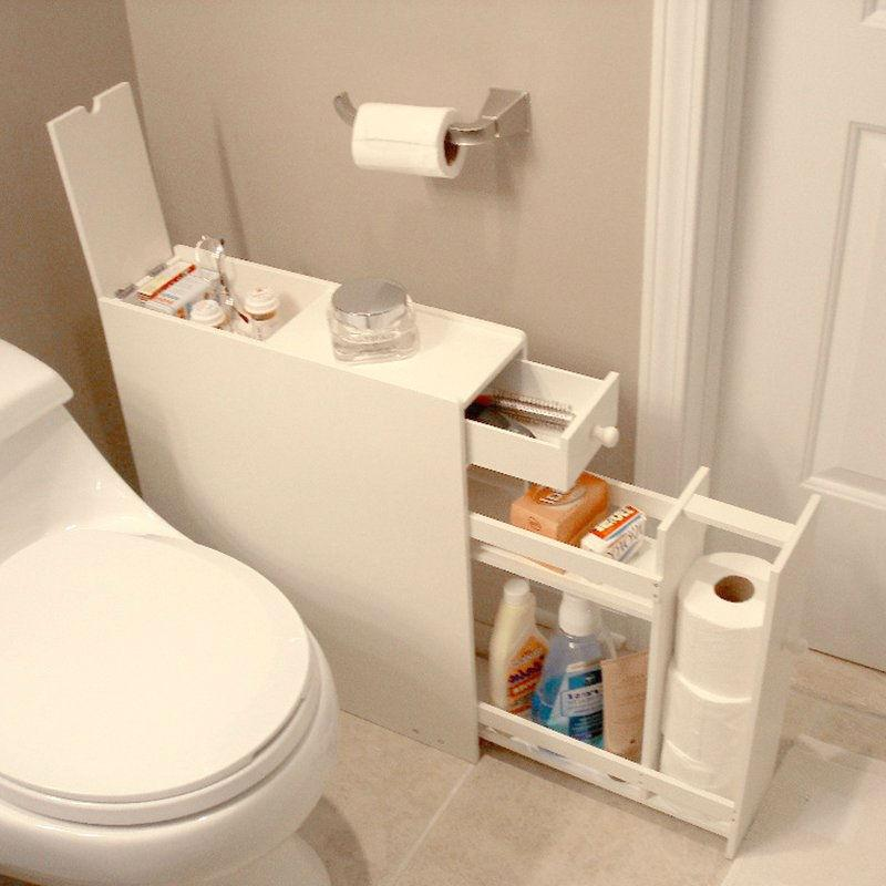 Space Saving Bathroom Floor Cabinet in White Wood Finish