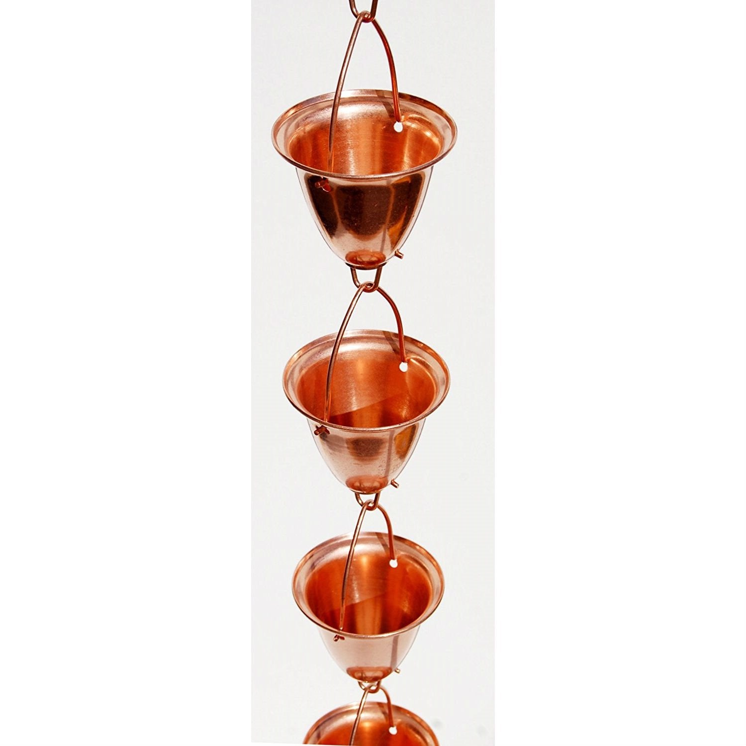 Solid 100% Copper 8-Foot Funnel Cup Rain Chain for Rain Gutter