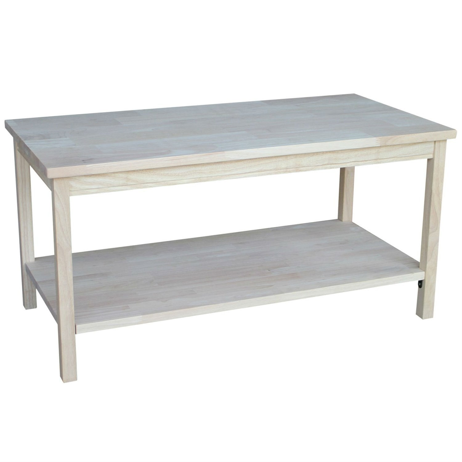 Unfinished Solid Wood Rectangular Coffee Table with Bottom Shelf