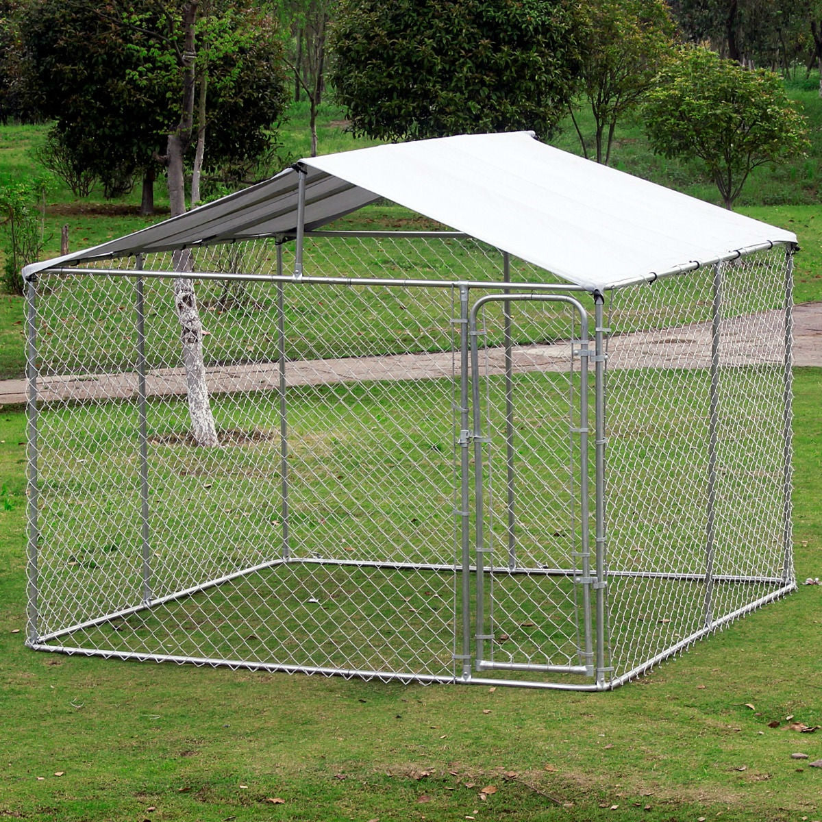 10ft x 10ft x 6ft Large Chain Link Outdoor Dog Play Pen House with Cover