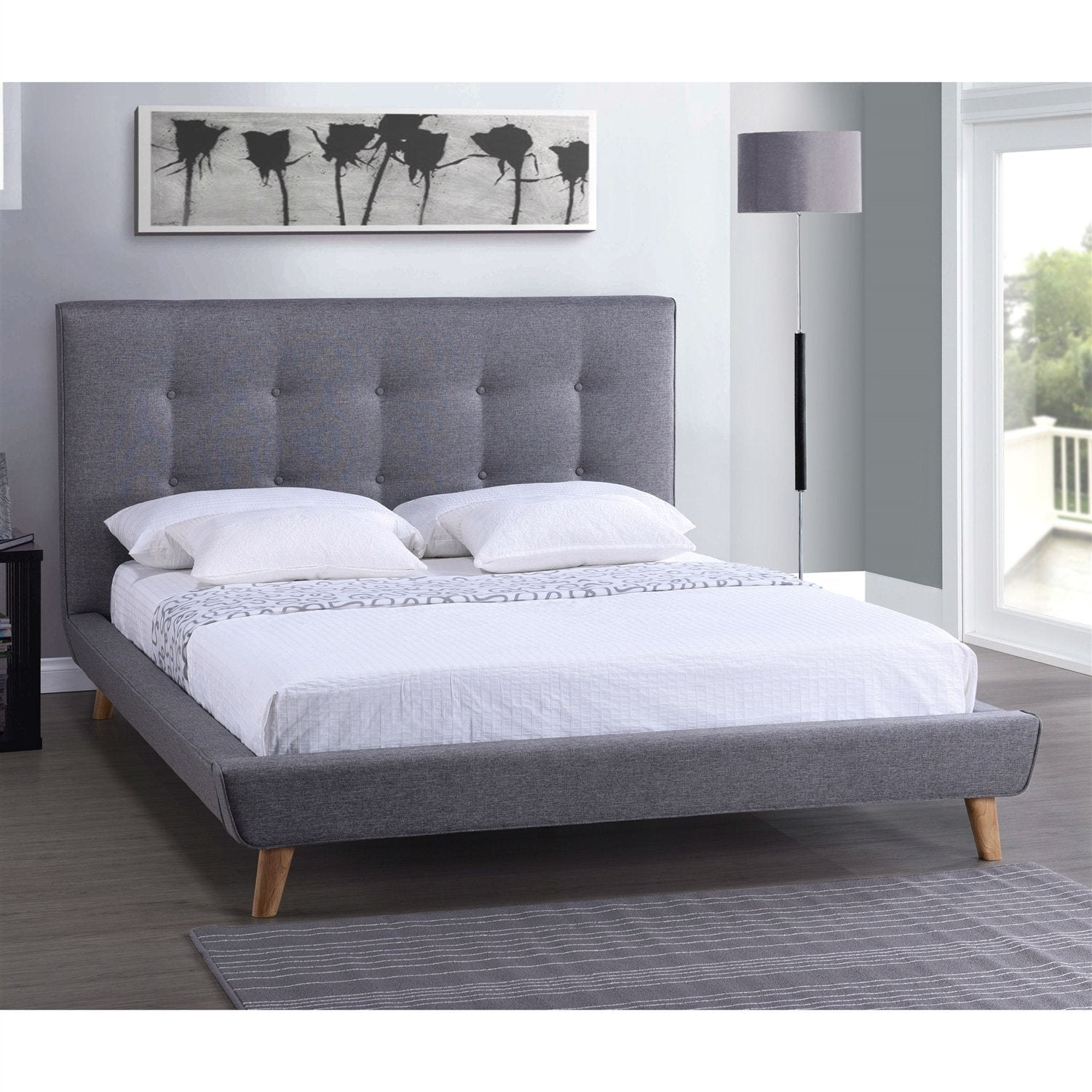 Full size Modern Grey Linen Upholstered Platform Bed with Headboard