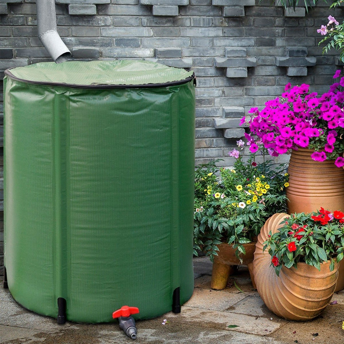 Portable 60-Gallon Rain Barrel Collapsible with Zippered Top in Green Color