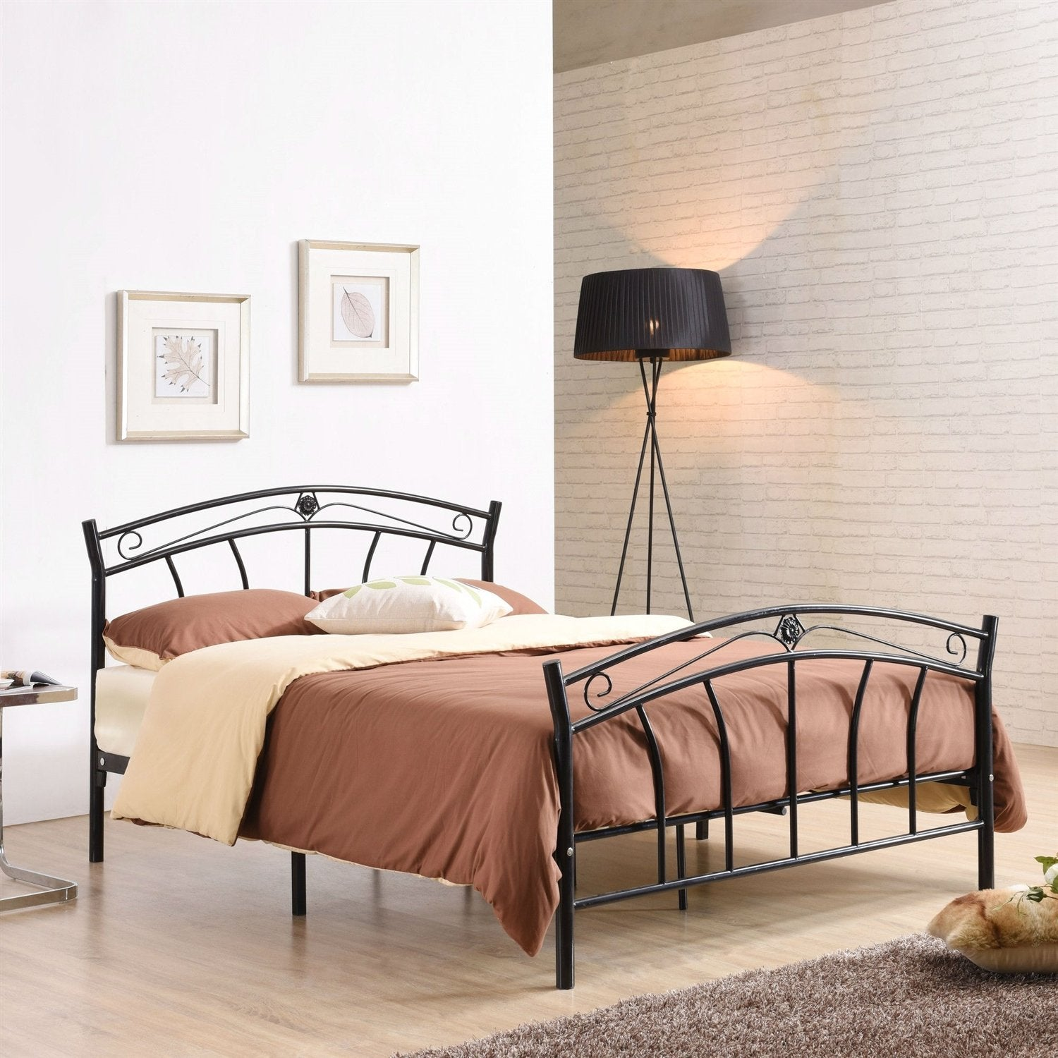 Queen size Black Metal Platform Bed Frame with Headboard and Footboard