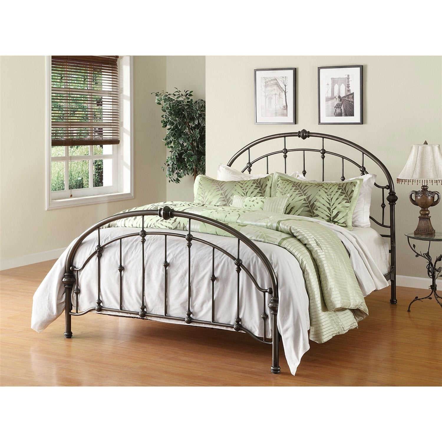 Queen size Metal Bed in Antique Bronze Finish with Headboard & Footboard