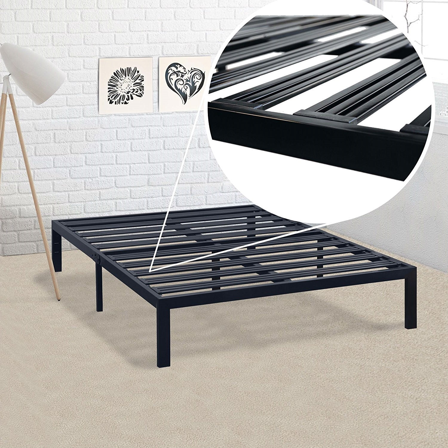 Queen size Metal Platform Bed Frame with Heavy Duty Steel Slats