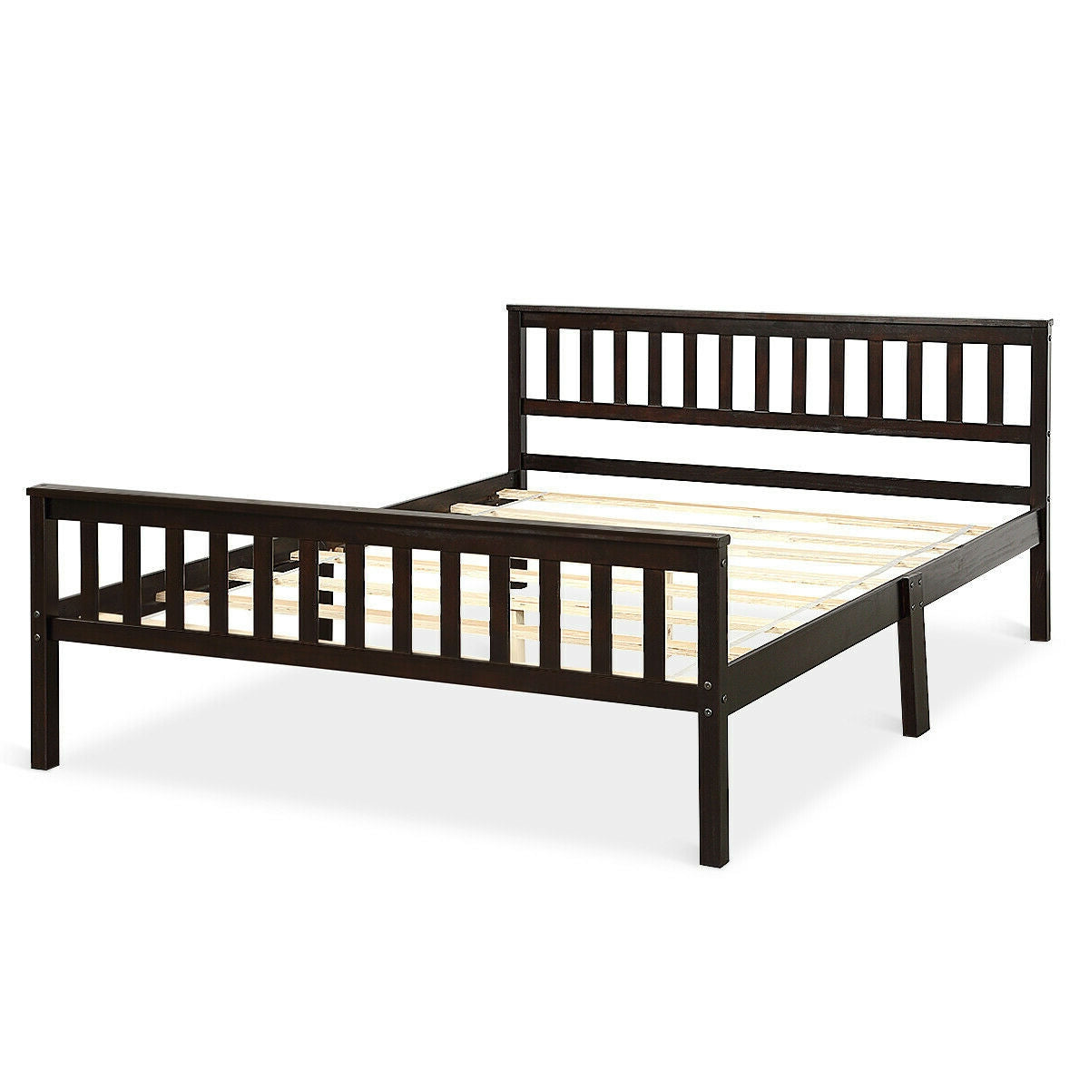 Queen Wood Platform Bed Frame with Headboard and Footboard in Espresso