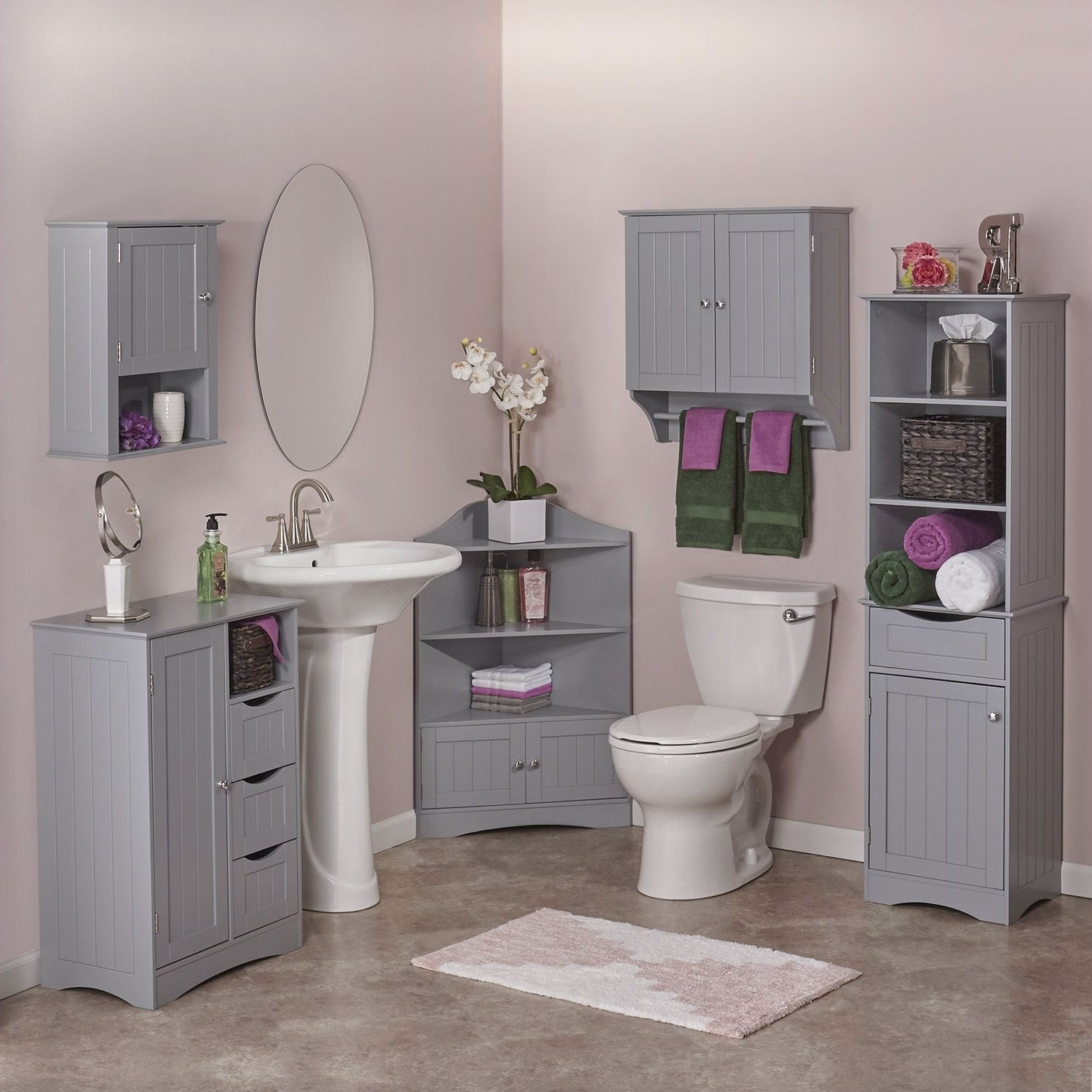 Gray 2-Door Bathroom Wall Cabinet with Towel Bar