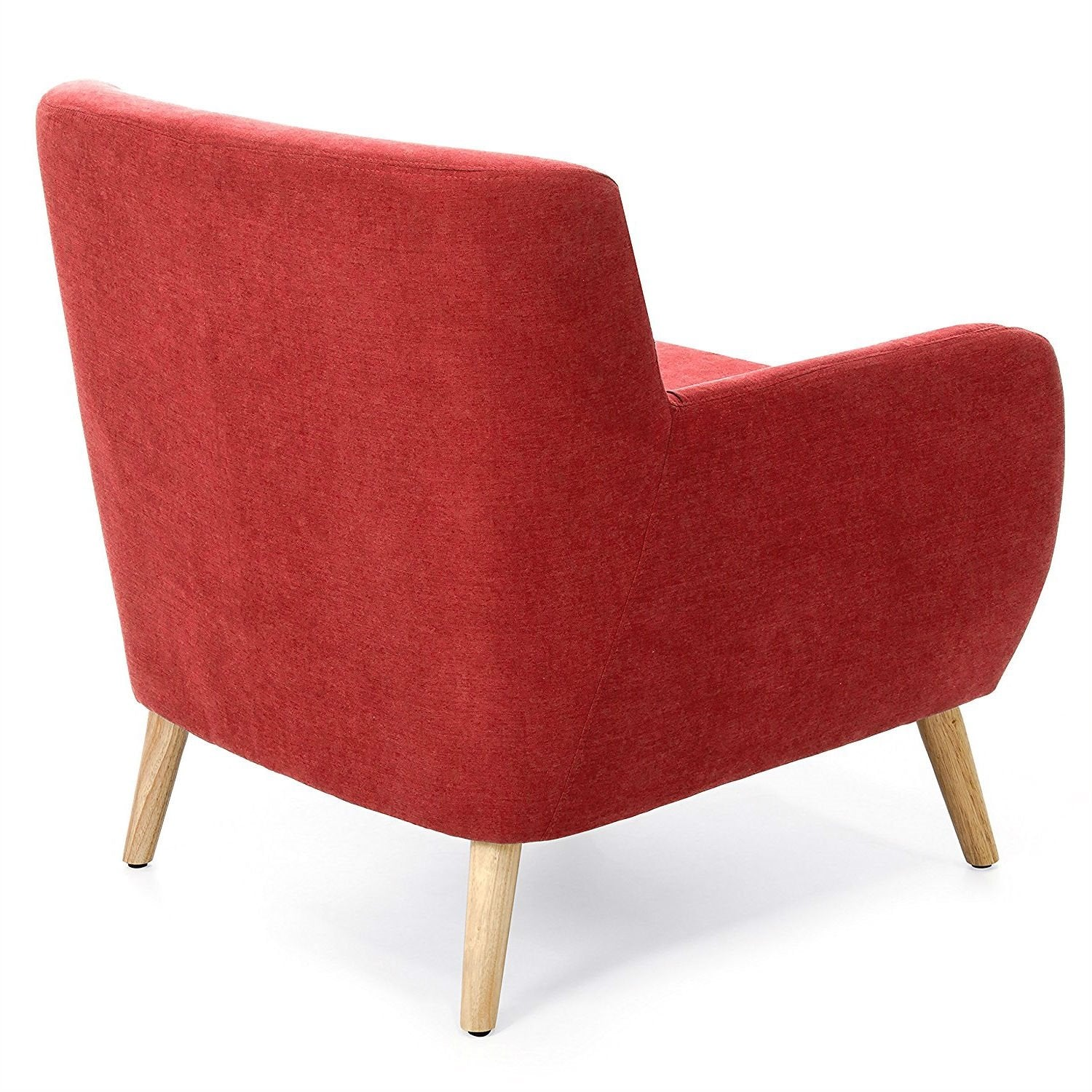 Red Linen Upholstered Armchair with Mid-Century Modern Classic Style Wood Legs