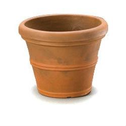 12-inch Diameter Round Planter in Rust color Poly Resin Plastic