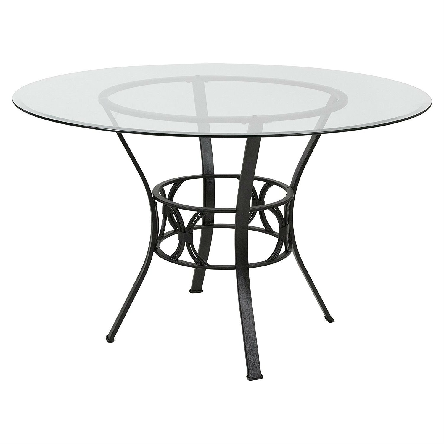 Round 48-inch Clear Glass Dining Table with Black Metal Frame