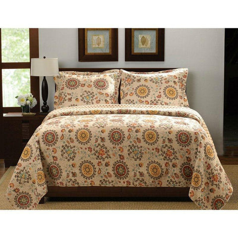Full / Queen Retro Moon Shaped Floral Medallion Reversible 3 Piece Quilt Set
