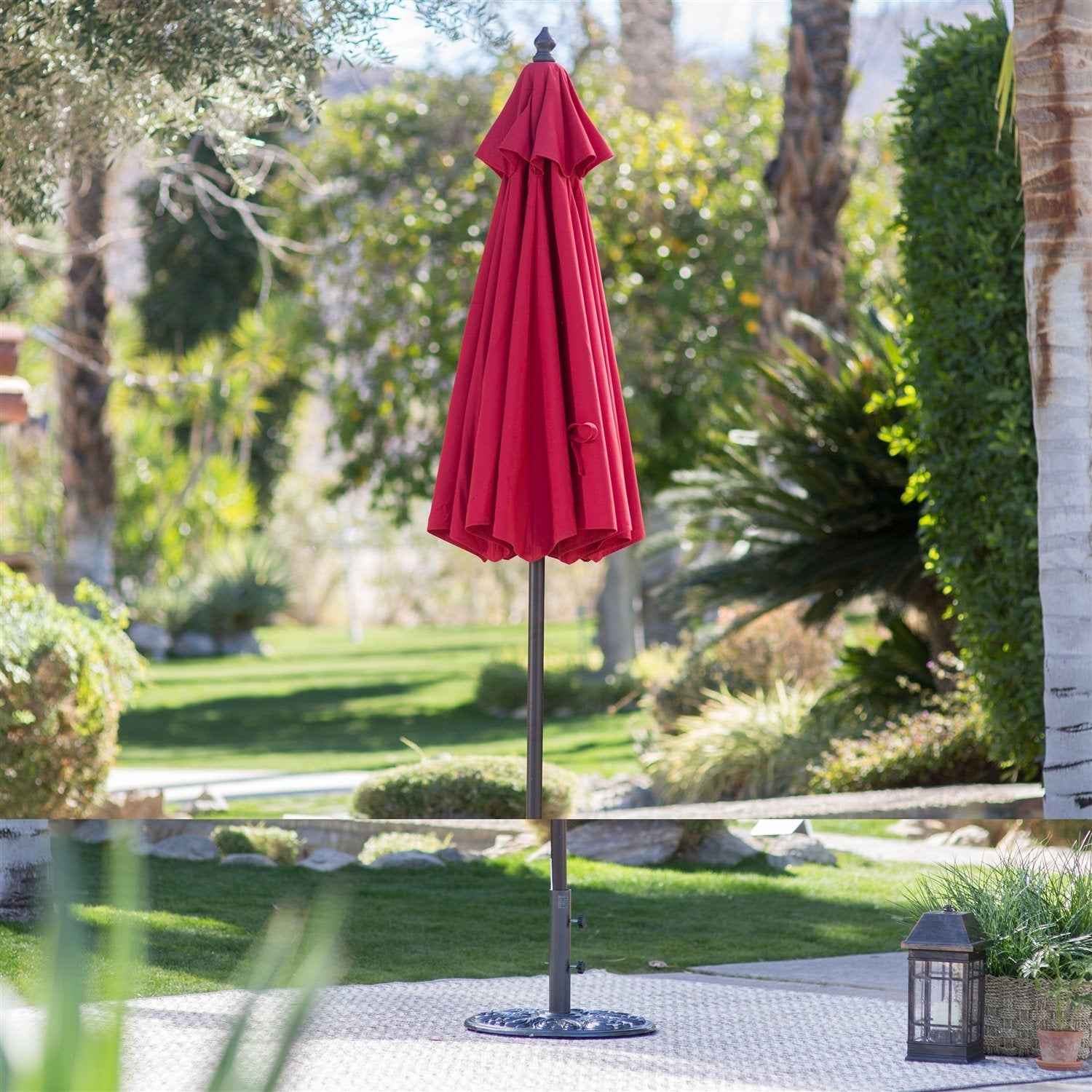 Red 7.5 Ft Patio Umbrella with Dark Mahogany Stained Pole
