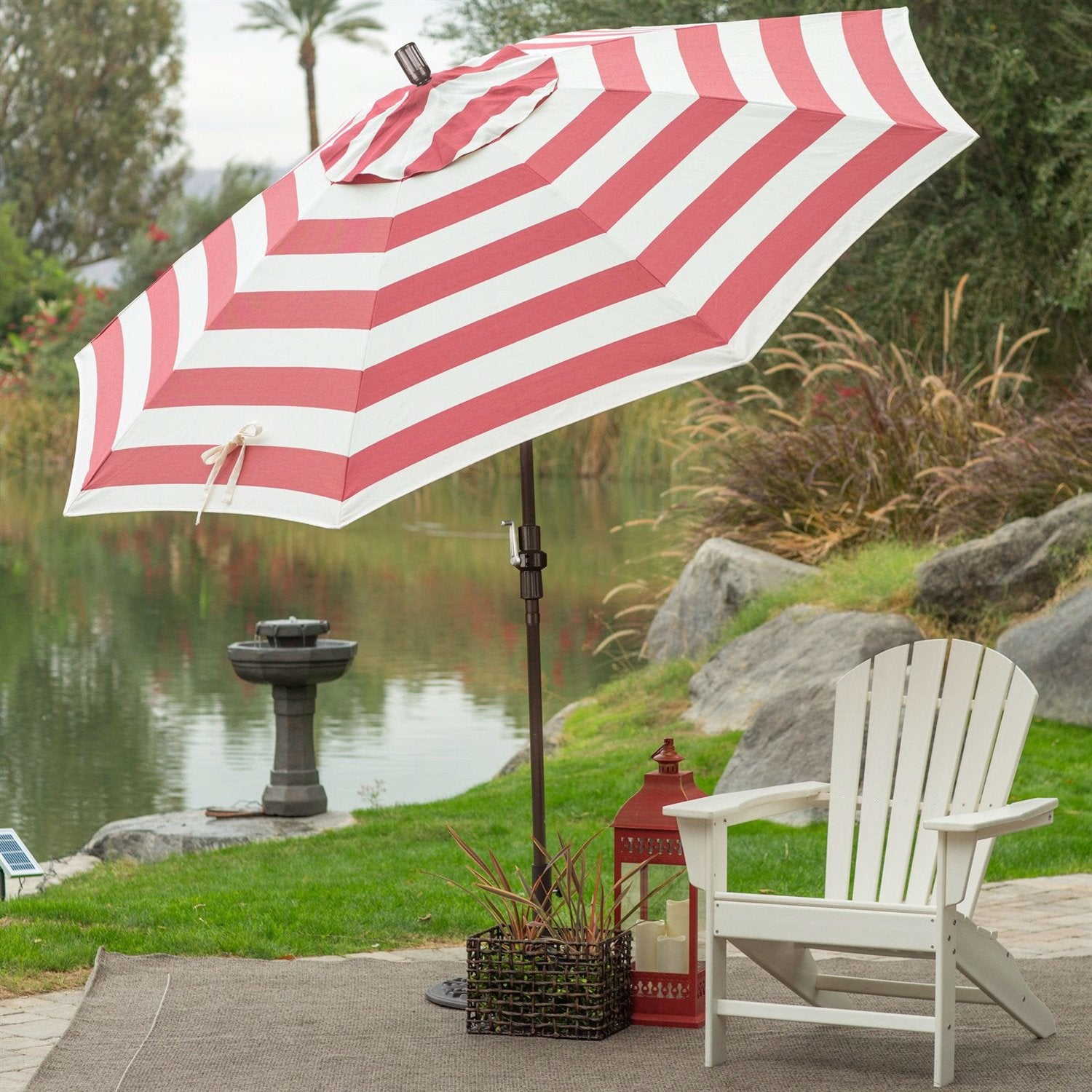 Coral Red White Stripe 7.5-Ft Outdoor Patio Umbrella with Metal Pole