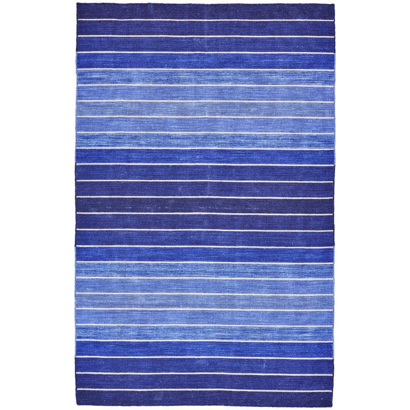 2' x 3' Striped Hand-Tufted Wool/Cotton Blue Area Rug
