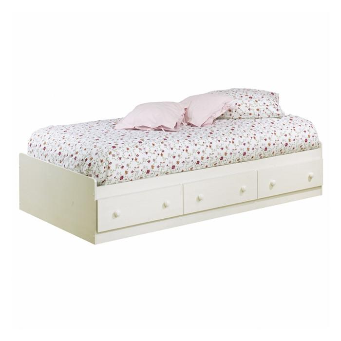 Twin size Platform Bed with 3 Storage Drawers in White Finish