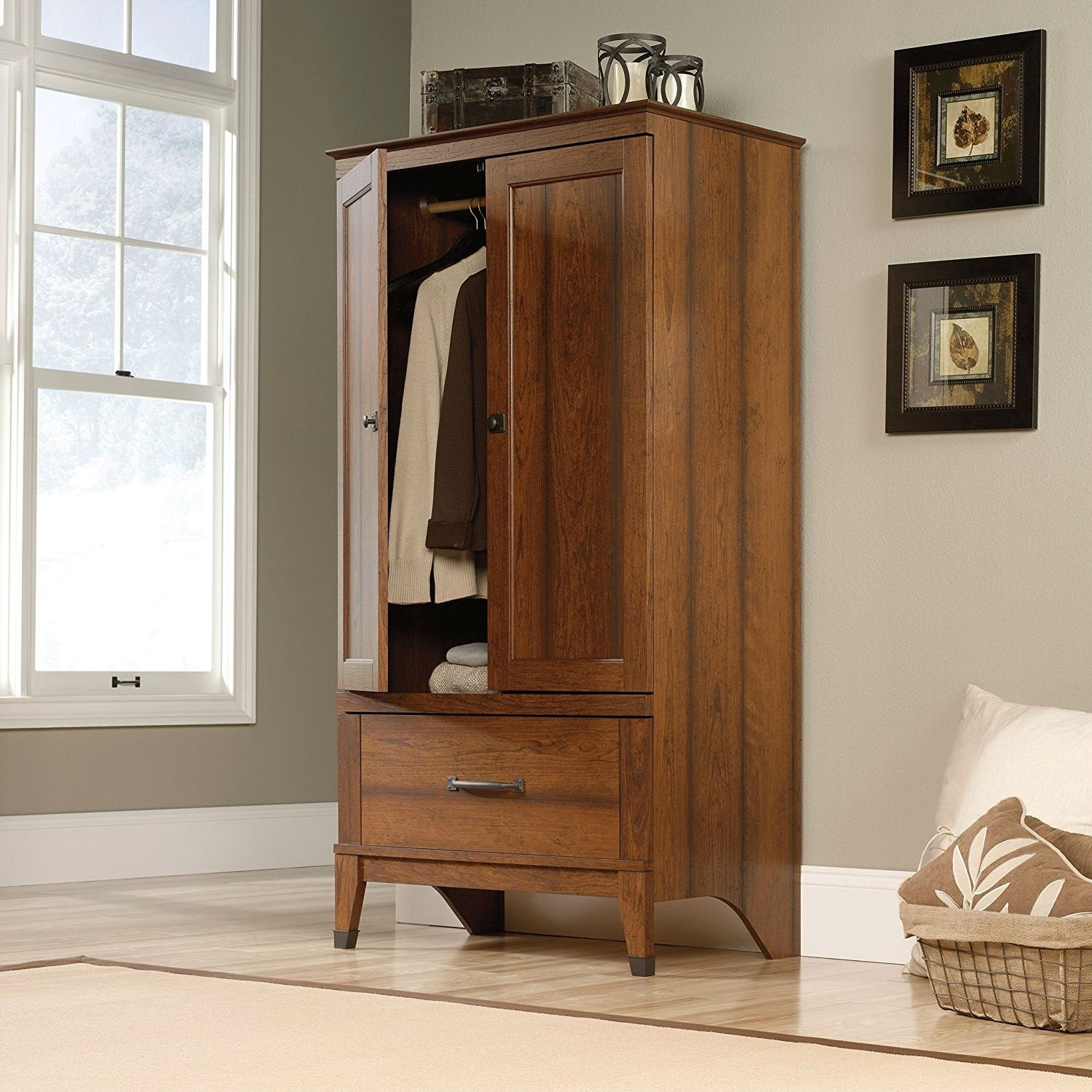 Bedroom Wardrobe Cabinet Storage Armoire in Medium Brown Cherry Wood Finish