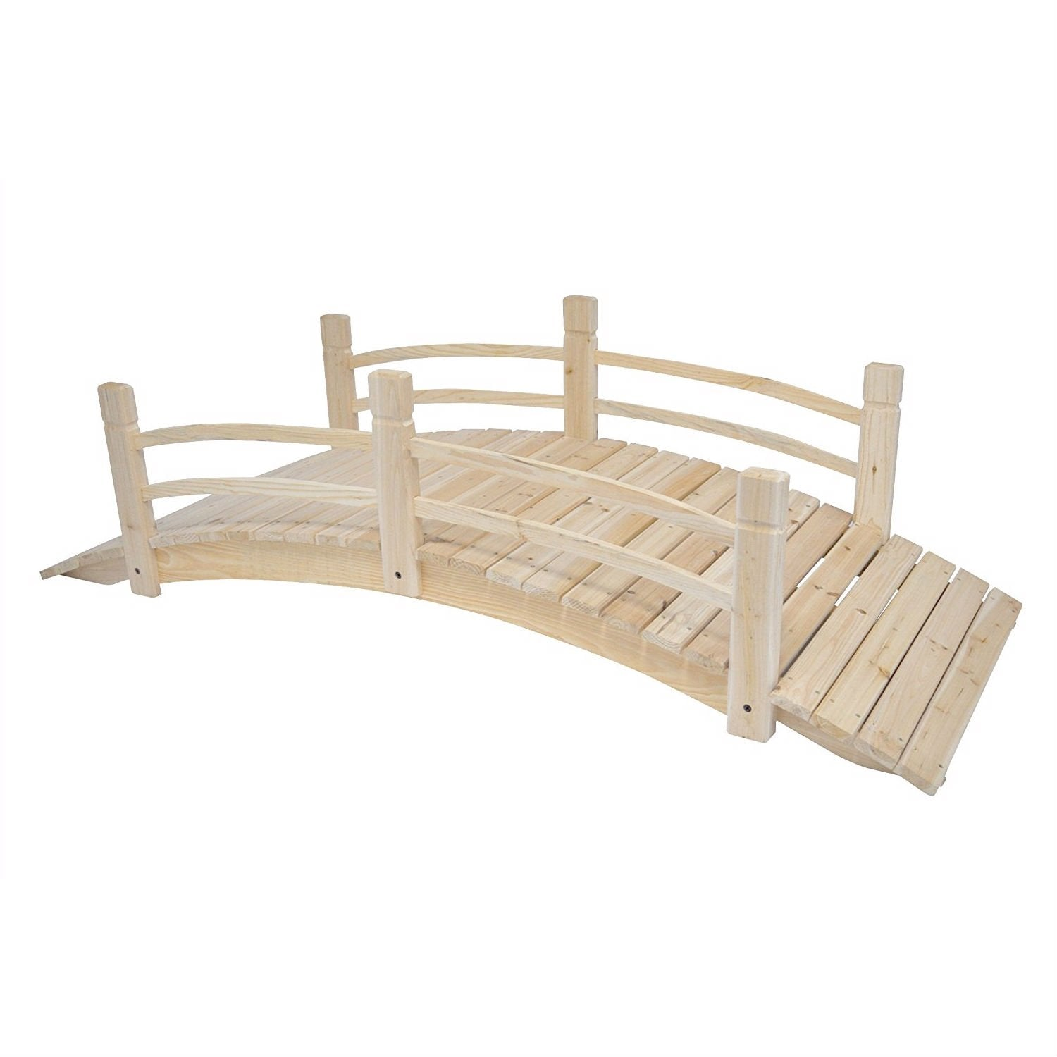 Cedar Wood 6-Ft Garden Bridge - Weight Capacity 575 lbs